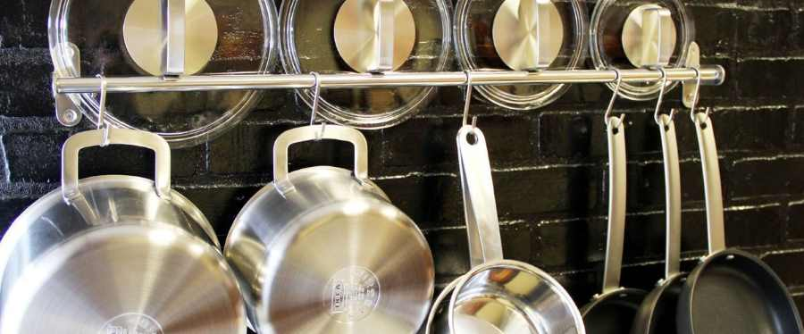cookware on towel rack