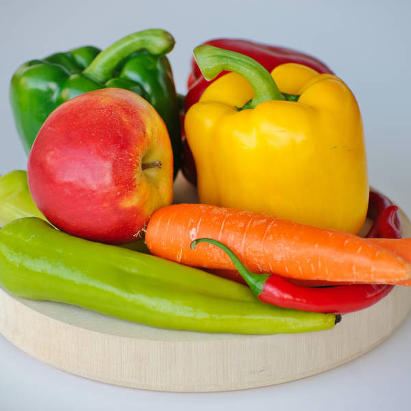 produce on wooden plate
