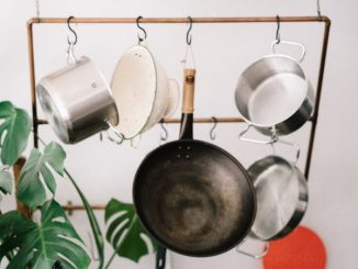 neatly stored pots and pans