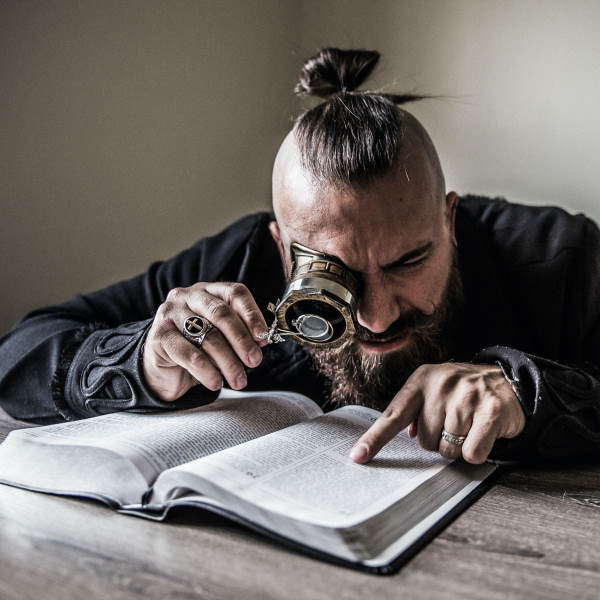 reading under magnifying glass