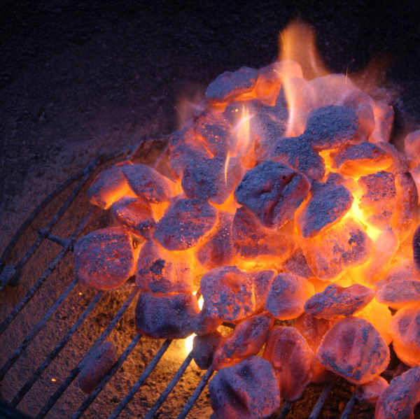 briquettes in charcoal grill
