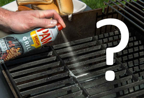 spraying PAM on grill grates