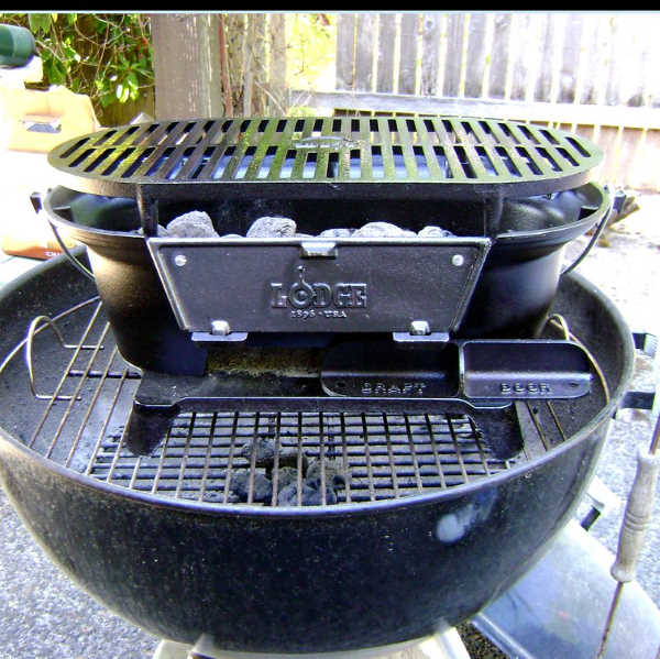 cast iron and stainless steel charcoal grill