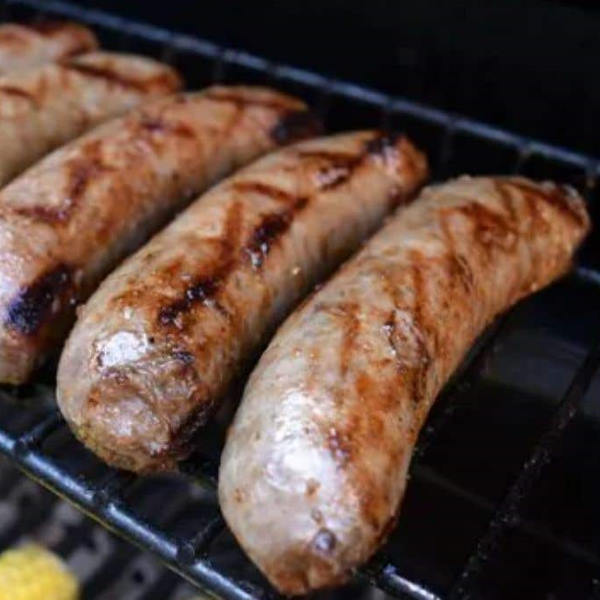 cooking sausages on infrared grill