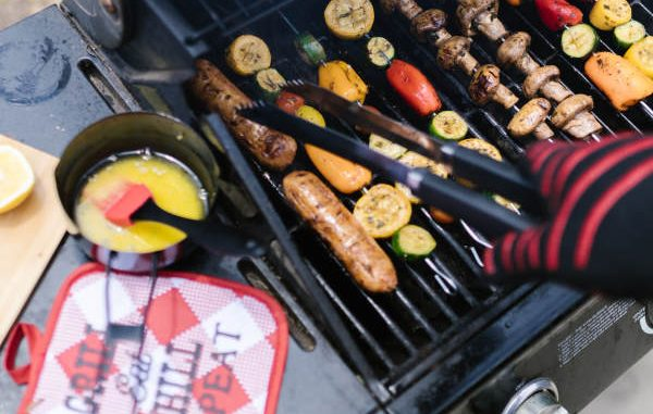 cooking various foods on gas grill