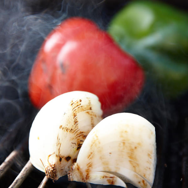 grilling onions and peppers