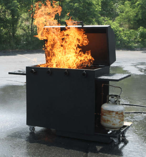 gas grill on fire