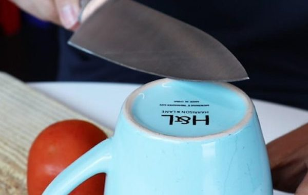 sharpening knife with mug