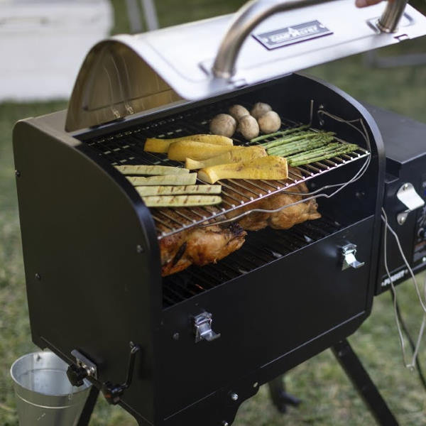 cooking in a portable pellet grill