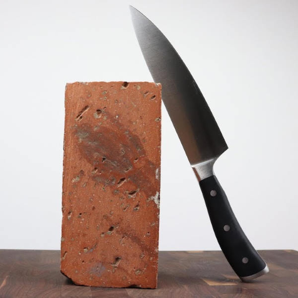 knife and brick