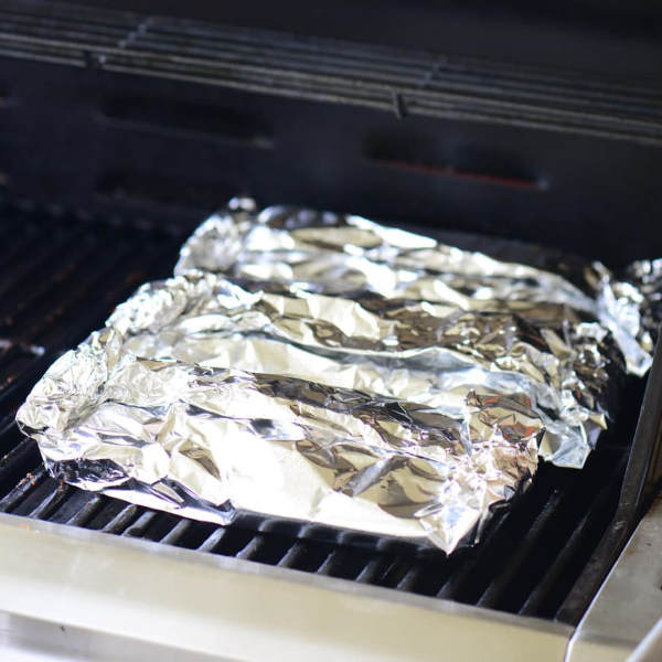 foil wrapped ribs on grill