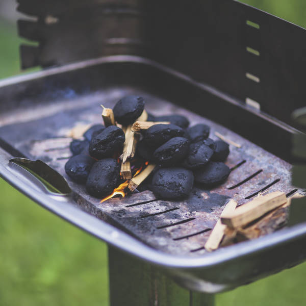 burning charcoal in grill